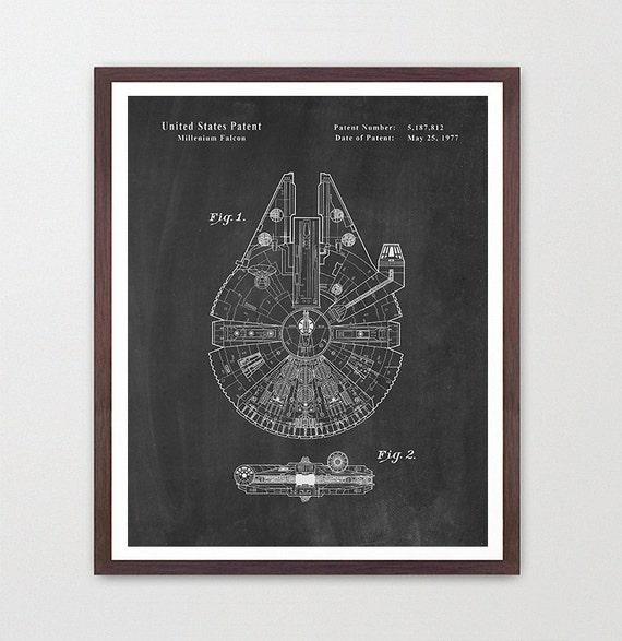 Star Wars - MIllenium Falcon - Star Wars Patent - Star Wars Poster - Star Wars Art - MIllenium Falcon Patent - Star Wars Wall Art - Falcon