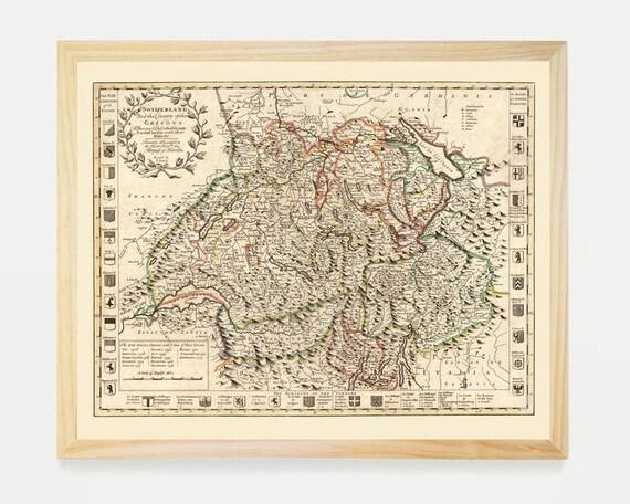 Switzerland Map - Map Art - Map Decor - Switzerland Art - Swiss Map Art - Switzerland Wall Art - Swiss Art - Switzerland Poster - Zurich