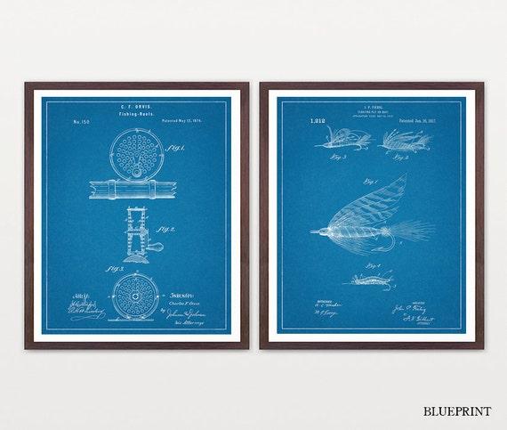 Fishing Wall Art - Fly Fishing Art - Fishing Patent Print - Fly Fishing Patent - Fishing Art - Fishing Inventions - Fishing Reel - Lure
