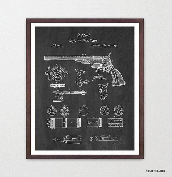Gun - Colt Walker - Gun Art - Gun Patent - Gun Poster - Vintage Gun - Firearm - Revolver - Colt 45 - Colt Poster - Gun Patent Art - Shooting