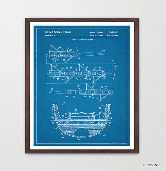 Rowing Patent Art - Crew - 8 Man Row Boat - Sculling Patent - Scull - Oar - Crew Art - Crew Poster - Crew Patent - Rowing Art - Rowing Decor