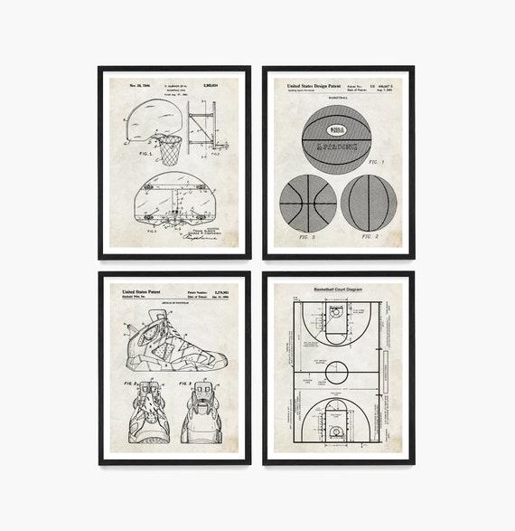 Basketball Poster, Basketball Patent Art, Basketball Hoop, Basketball Wall Art, Basketball Gift, Boys Room Poster, Basketball Sneaker