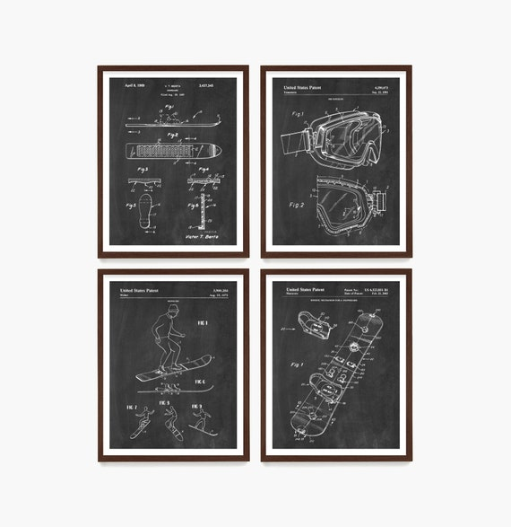 Snowboard Patent, Snowboard Poster, Snowboarding Poster, Snowboard Art, Snowboarding Art, Ski Cabin, Cabin Wall Art