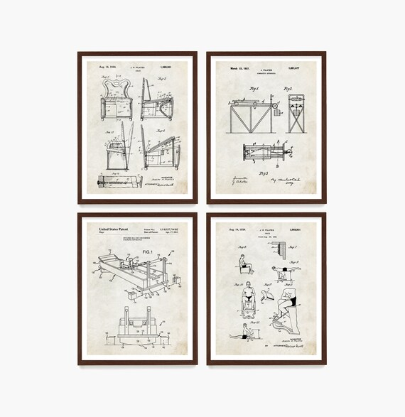 Pilates Patent Art, Pilates Poster, Pilates Decor, Pilates Studio, Home Gym Wall Art, Exercise Poster, Gym Decor, Pilates Gift
