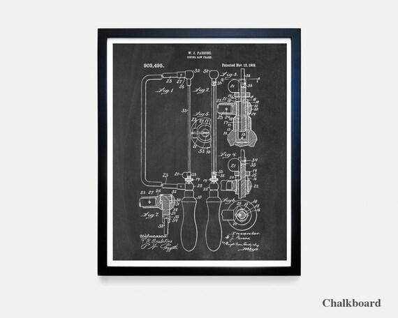 Hand Saw Patent - Carpentry Poster - Tool - Tools - Vintage Tools - Tool Art - Tool Poster - Workshop - Garage - Garage Art - Man Cave Art