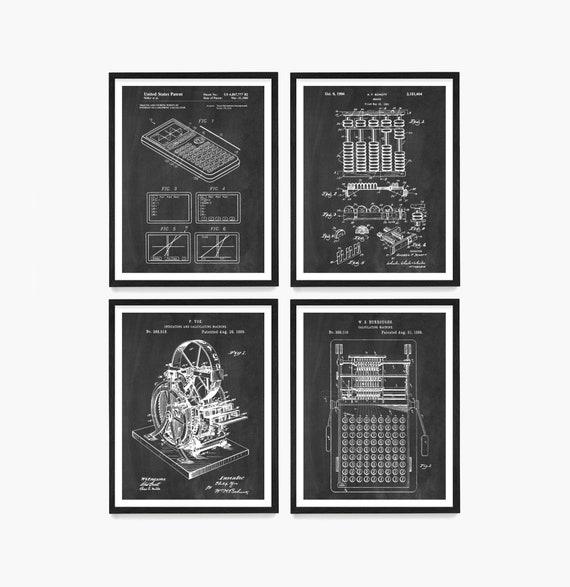 Evolution of the Calculator Patent Art - Math Art - Math Poster - Classroom Wall Art - Math Class - Engineer - TI83 - Abacus - Mathlete