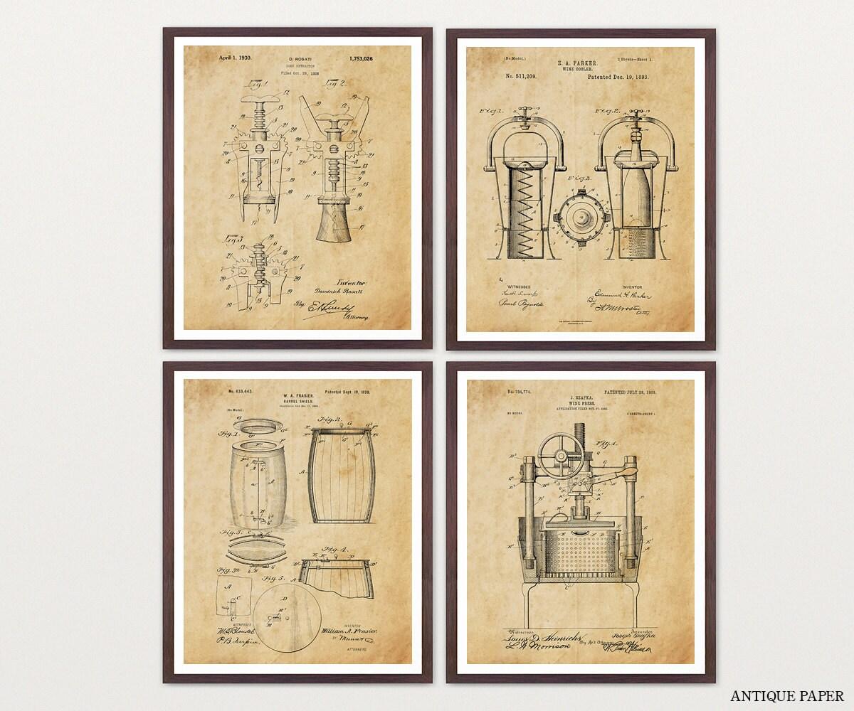 Inventions of Wine Patent Print Suite - Wine Patent - Wine Art ...