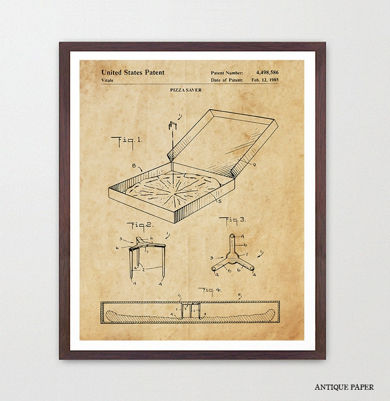 Pizza Patent Art - Pizza Poster - Pizza Box - Pizza Wall Art - Pizza ...