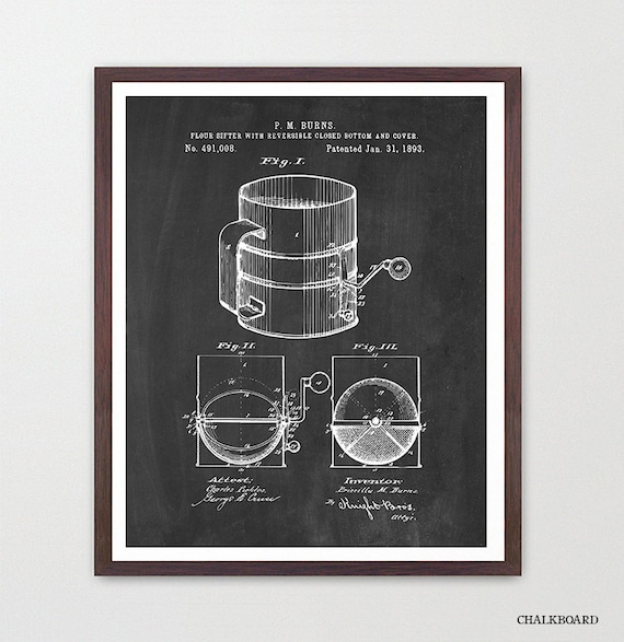 Baking Patent - Baking Art - Baking Poster - Baking Decor - Sifter - Sugar - Pies - Cake - Baking Wall Art - Kitchen Art - Kitchen Patent