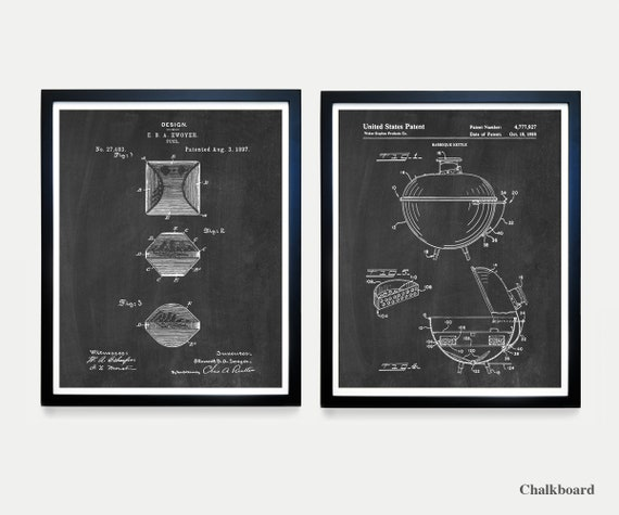 BBQ Patent Art - BBQ Poster - Barbecue Art - Grill Patent - Charcoal Brickett - Weber Grill - BBQ - Barbecue Wall Art - Grill Poster - Cook