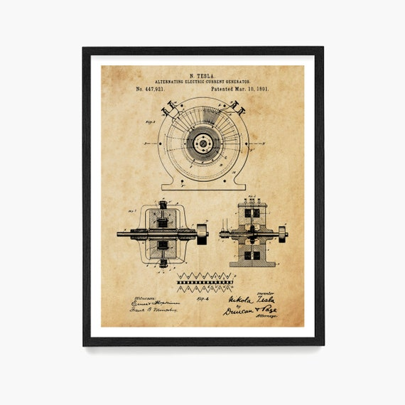 Tesla Alternating Current Patent, Tesla Poster, Tesla Wall Art, Nikola Tesla Patent, Automobile Art, Tesla Motor, Electrician, Engineer