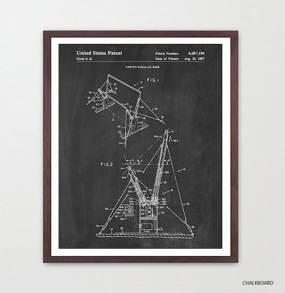 Gymnastics Patent Art - Gymnastics Poster - Gymnast - Gymnast Poster - Gymnast Patent - Olympics - Pommel Horse - Uneven Bars -