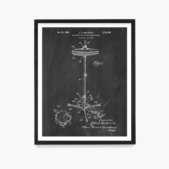Drum Hi Hat Patent Print, Drumming Wall Art, Drummer Gift, Marching Band Poster, Drum Kit Patent, Music Decor, Percussionist Gift