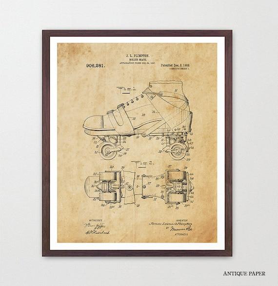 Roller Skating Patent Art - Roller Skate Poster - Roller Derby - Roller Skate Art - Roller Derby Poster - Roller Derby Art - Skate Patent