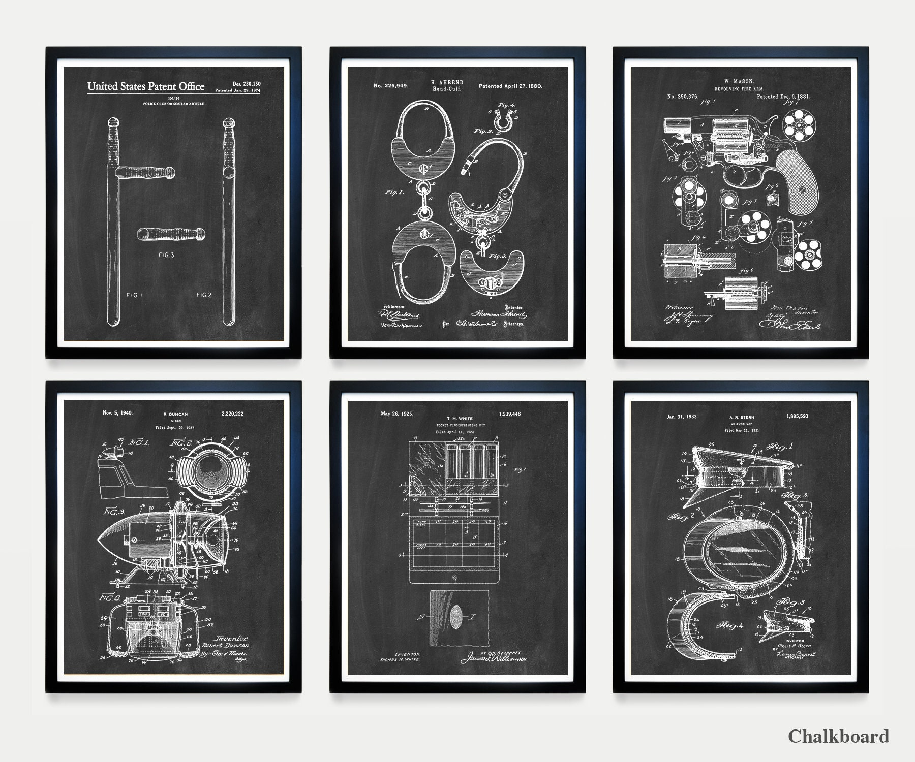 Police Patent Posters Set of 4 Detective Gift Police Decor Law Enforcement Art