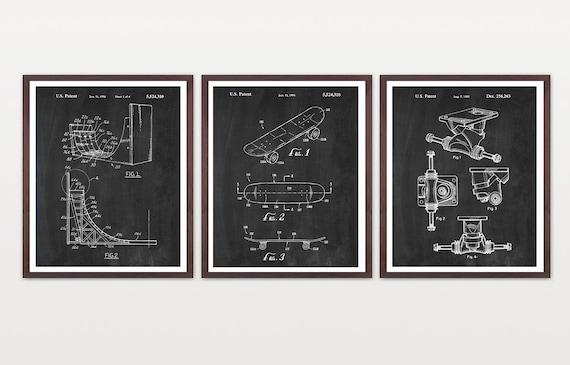 Skateboard Patent Set - Skateboarding - Skateboard - Skateboard Trucks - Skate Art - Skate Poster - Skateboarding Patent Print - X Games