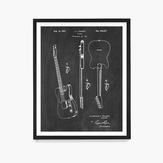 Fender Telecaster Patent Print, Fender Patent Art, Fender Wall Art, Guitar Patent, Guitar Wall Art, Telecaster Patent, Guitar Gift