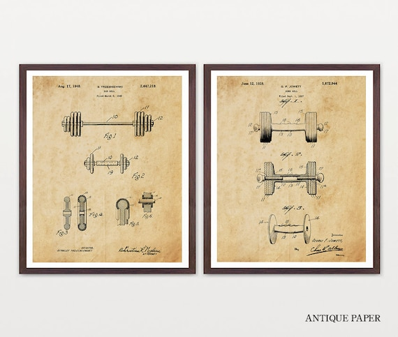 Dumbbell Patent - Weight Lifting Patent - Gym Patent - Gym Art - Workout Patent - Workout Art - Weights - FITNESS ART - Body Building - GYM