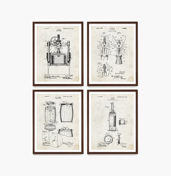 Wine Patent Art, Wine Wall Art, Wine Decor, Wine Bar, Wine Gift, Cork Screw Patent, Wine Bottle Patent, Kitchen Wall Art, Kitchen Remodel