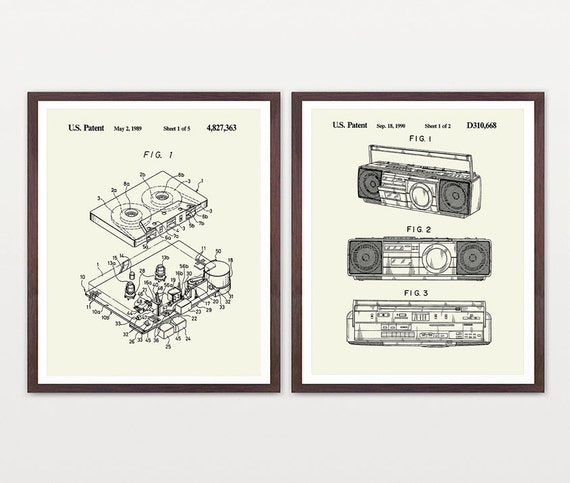 Music Patent Poster - Music Wall Art - Cassette - Boom Box - Boom Box Poster - Tape - Tape Deck - Tape recorder - 80s poster - Music Gift