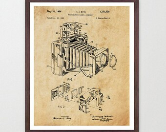 Camera Poster - Camera Art - Photography Poster - Polaroid - Land Camera - Patent Print - Patent Poster - Photo - Polaroid Poster