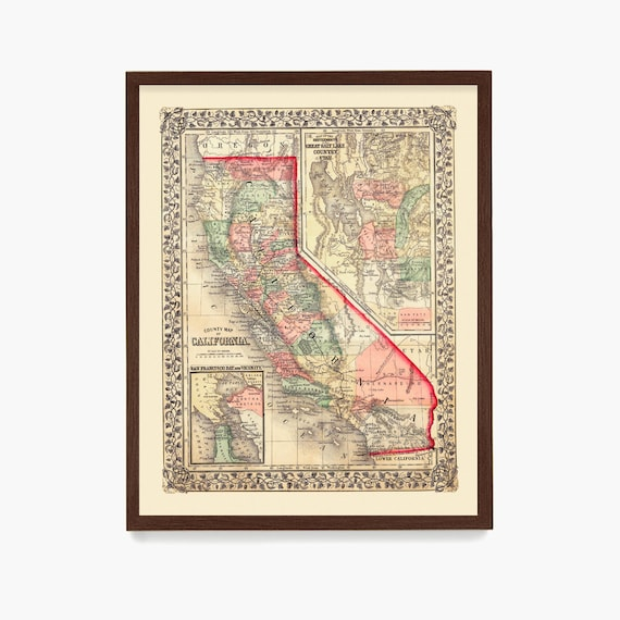 California Map, California Wall Art, Vintage California Map, State Map, Atlas, California Home, Housewarming Gift, Western Art