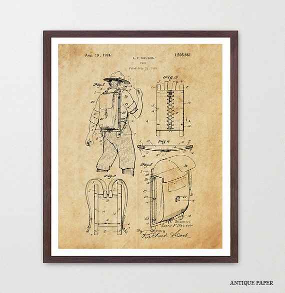 Camping - HIking Art - Hiking PAtent - Pack - Backpacking - Camping Patent - Campsite - Hiking - Outdoors - National Park - Backpacking Art