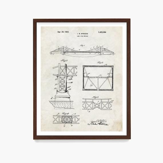 Golden Gate Bridge Patent Art Poster, Golden Gate Bridge Blueprin, San Francisco Art, Architect, San Francisco Wall Art, Architectural Print