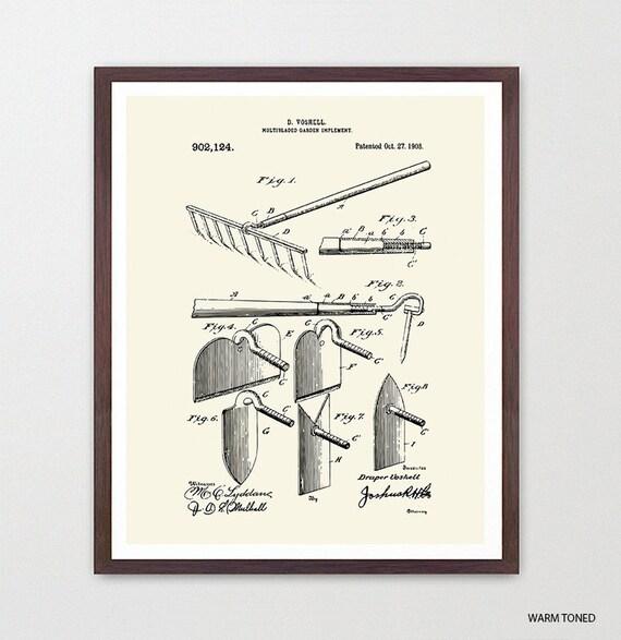 Garden Rake Patent - Garden Patent - Garden Poster - Garden Patent Art - Gardener - Gardening - Vegetable Garden - Flower Garden - Tool