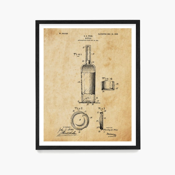 Wine Bottle Patent, Wine Patent, Wine Poster, Wine Art, Wine Print, Wine Decor, Wine Gift, Vineyard, Wine Wall Art, Kitchen Decor