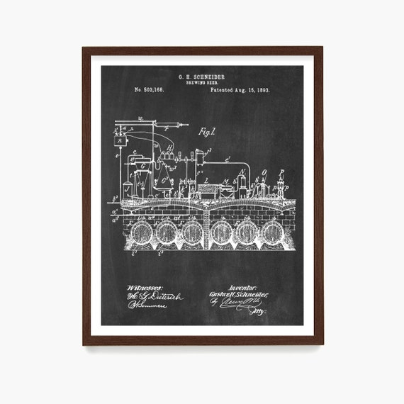 Beer Brewing Patent Poster, Beer Patent Art, Brewery Wall Art, Home Brewing Gift, Dad Gift, Husband Gift, Beer Gift, Kitchen Wall Art