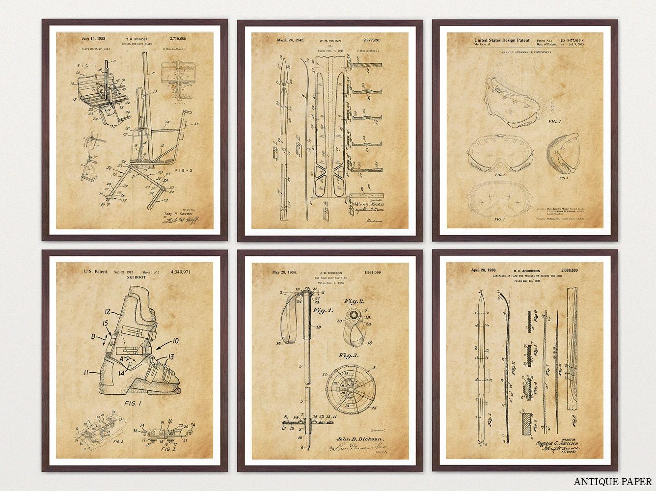 Ski Patent Posters - Skiing Art - Skiing Wall Art - Skiing Patent ...