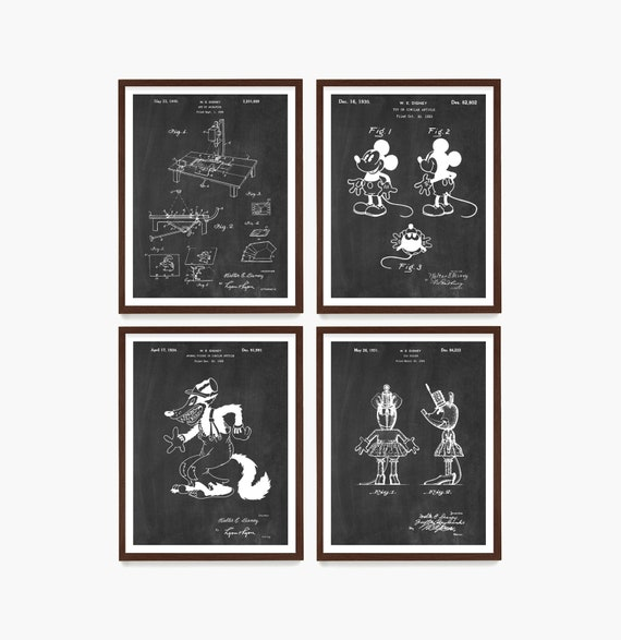 Walt Disney Patent Art, Mickey Mouse Patent, Mickey Mouse Poster, Walt Disney Art, Disney Wall Art, Kids Room Art, Cartoon Art, Illustration