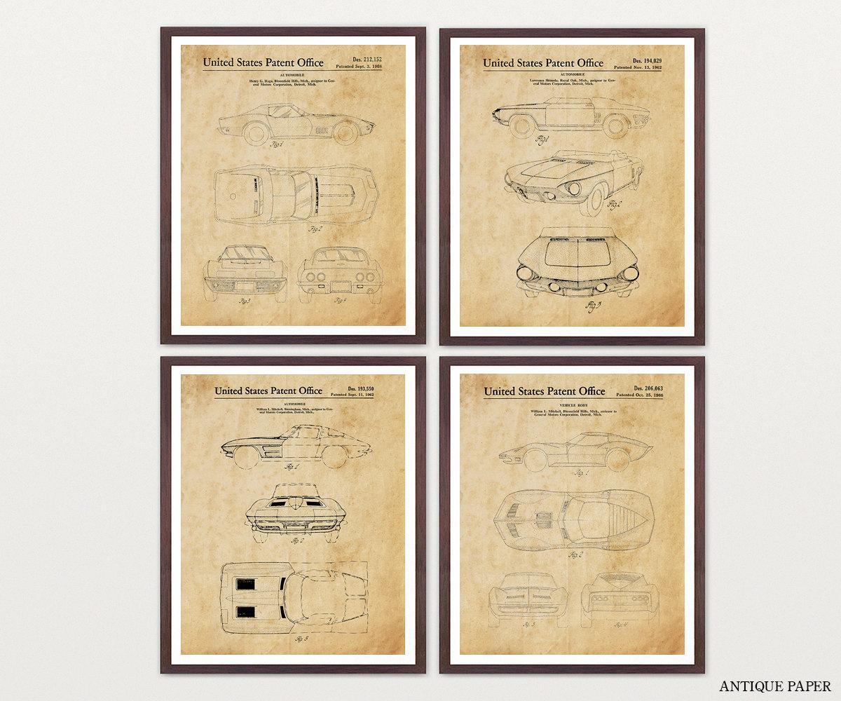 Corvette Patent Collection - Corvette Poster - Corvette Patent Art ...