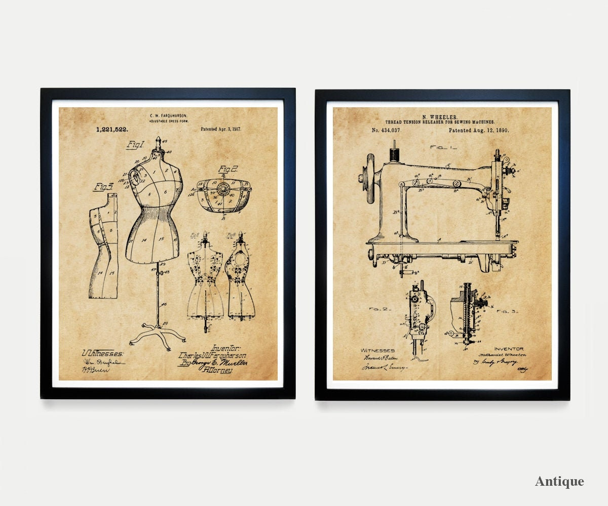 Sewing Patent Art Sewing Machine Poster Sewing Poster Dress Form Fashion Poster Fashion Designer Dress Dress Maker Sewing Art