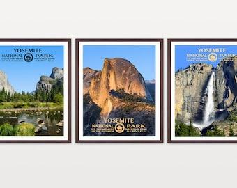 Yosemite National Park - Yosemite Poster - Yosemite National Park Art - National Park Poster - WPA - WPA Poster - Half Dome - El Capitan