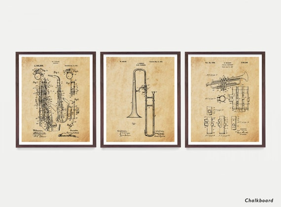 Music Patent Art, Trumpet Patent, Saxophone Patent, Trumpet Patent, Trombone Patent, Jazz Poster, Music Poster, Music Art, Marching Band