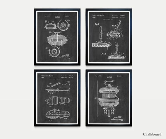 Curling Patent Poster - Curling Art - Curling Decor - Curling Club - Curling Stone - Vintage Curling - Curling Broom - Curling Poster