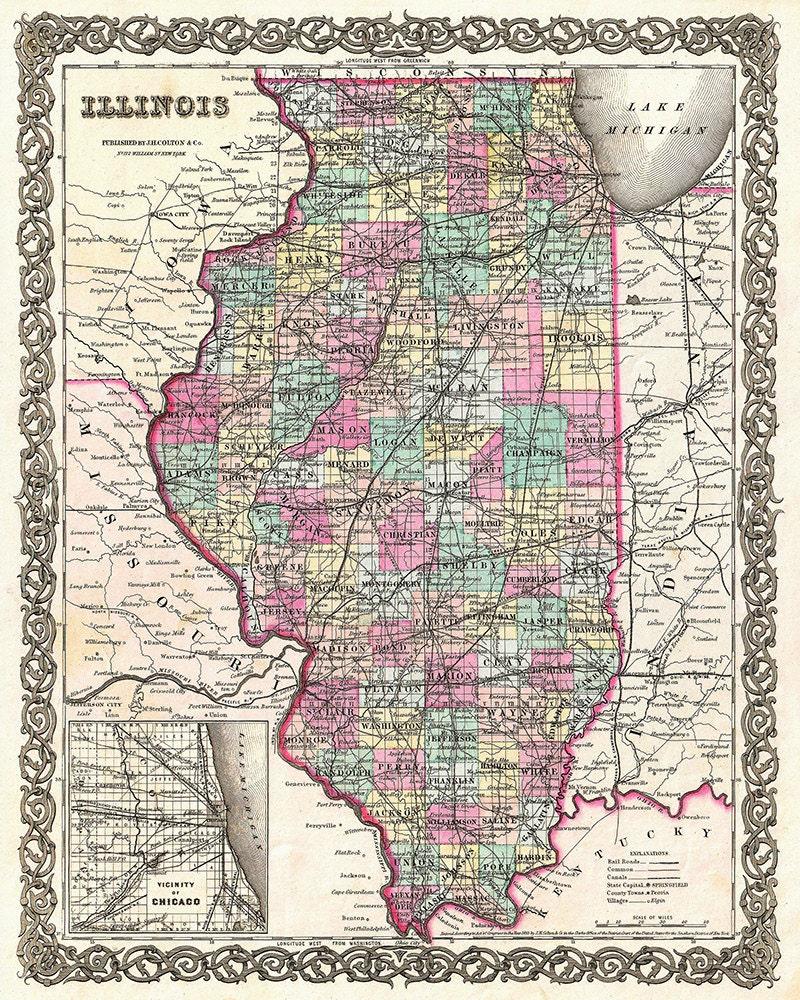 Illinois Map Illinois Map Art Map Decor Illinois Decor