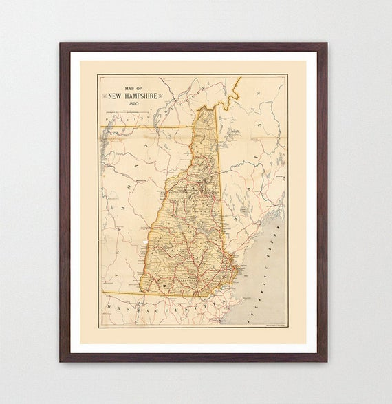 New Hampshire Map - NH Map - Map Art - Map Decor - State Map - New Hampshire Art - New Hampshire Poster - New Hampshire Wall Art - Keene