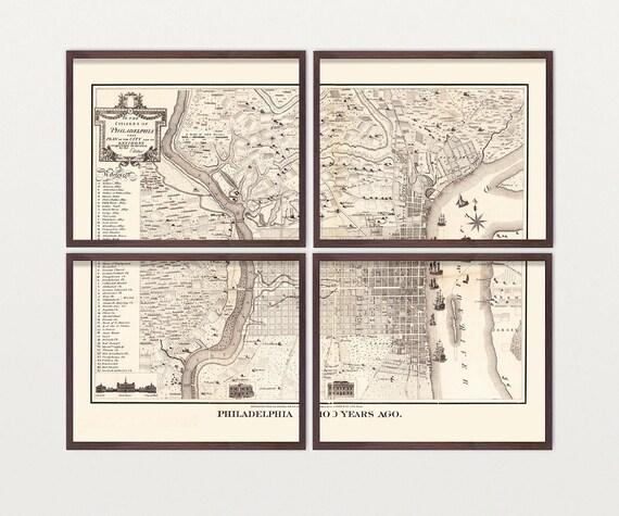 Philadelphia Map - Antique Map - Archival Reproduction - Philadelphia Art - Philadelphia Poster - Vintage Philadelphia Philly - Pennsylvania