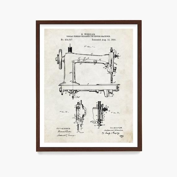 Sewing Machine Patent Poster Wall Art Print, Fashion Gift, Seamstress, Clothing, Garment, Designer, Fashion Decor