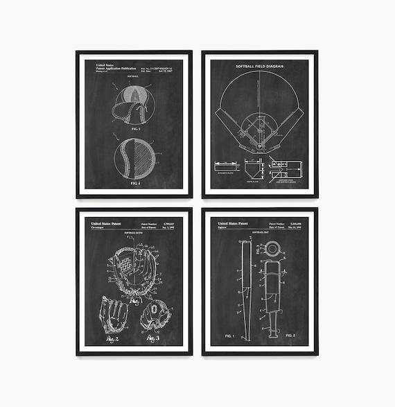Softball Patent Wall Art, Softball Poster, Softball Decor, Softball Field Poster, Softball Gift