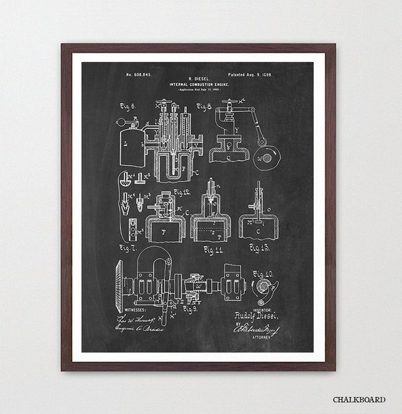 Diesel Engine Patent Poster - Rudolf Diesel - Diesel Art - Engine Art - Engine Patent - Engine Poster - Truck Engine - Truck Art - Car Art