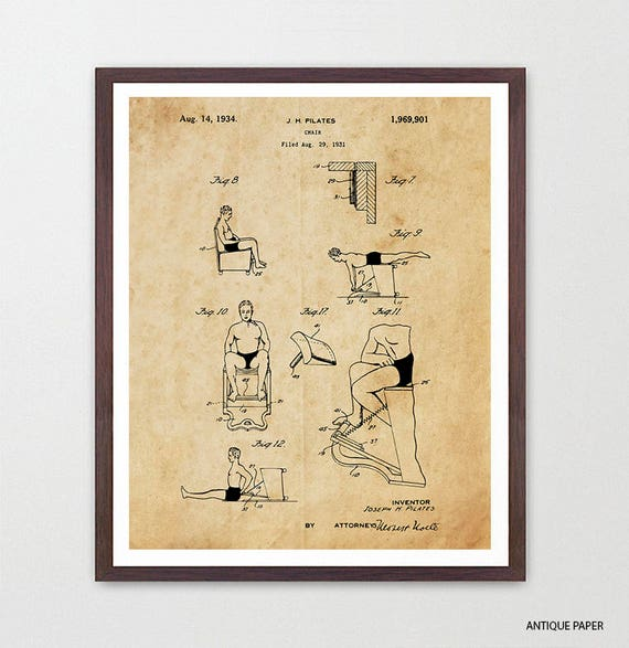 Pilates Patent Art - Pilates Poster - Pilates Decor - Pilates Studio - Exercise - Exercise Poster - Exercise Machine - Gym Wall Art
