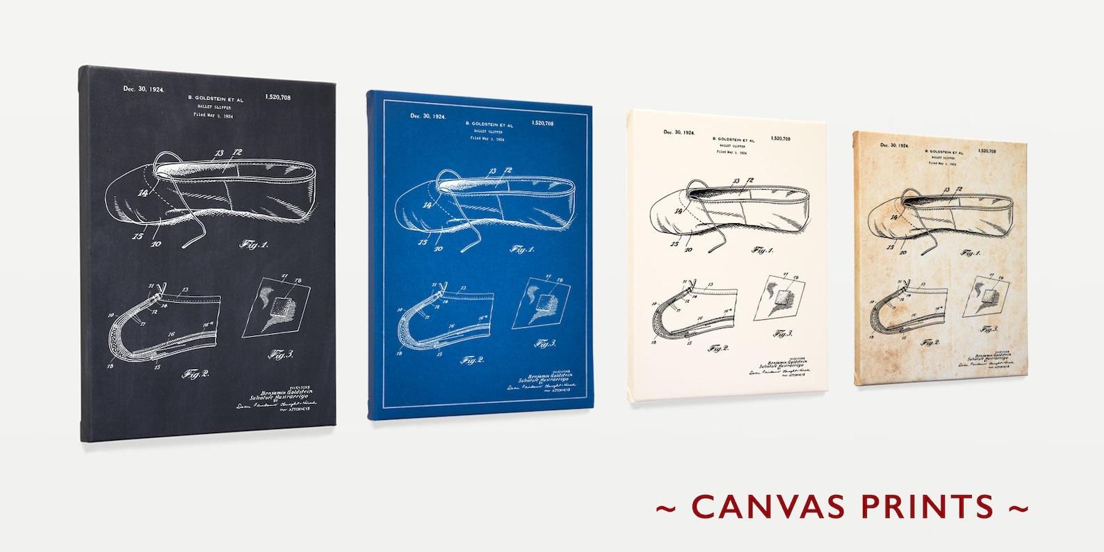 ballet patent art - ballet shoe - ballet slipper - ballet art - ballet posters dance poster - dance art - dance wall art - canva