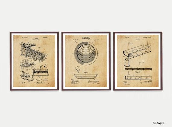 Gold Mining Patent Art, Gold Pan, Gold Panning Art, Gold Rush, Gold Pan Patent, Gold Rush Art, Gold Wall Art, Mining Machine, Miner