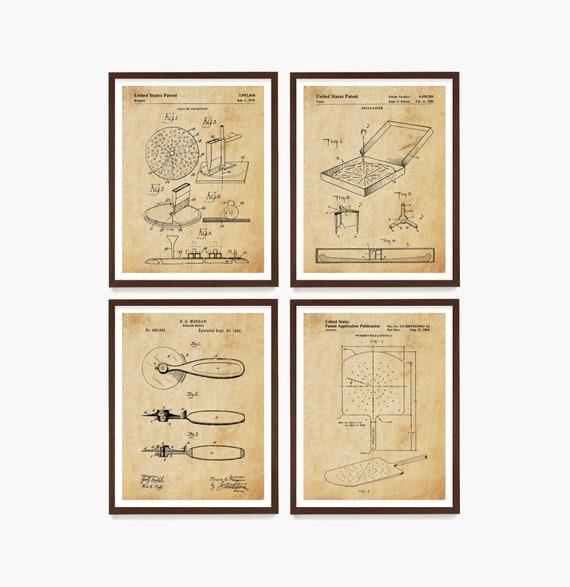 Pizza Patent Art, Pizza Wall Art, Pizza Poster, Pizza Decor, Kitchen Poster, Kitchen Art, Pizza Place, Italian Decor, Pizza Gift