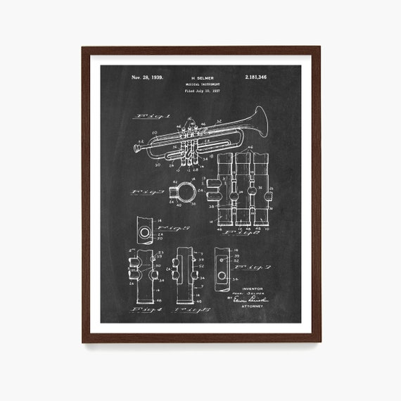 Trumpet Patent Poster, Trumpet Gift, Horn Patent, Music Wall Art, Music Poster, Jazz Art, Marching Band Gift