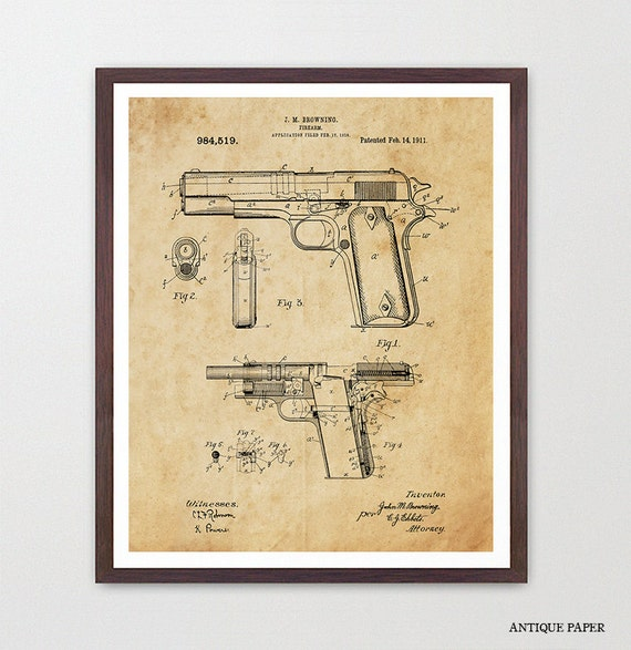 Gun Patent - Firearm Patent - Pistol Patent - Gun Art - Gun Decor - Handgun - Handgun Patent - Gun Wall Art - Gun Decor - Firearm Art Canvas